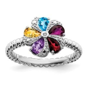 Jewelry - 925 Sterling Silver Multi Gemstone diamond Ring